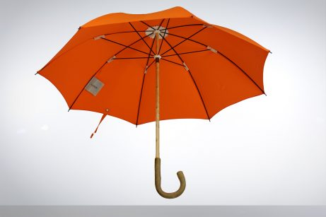 Solid ash wood umbrella with orange cotton canopy