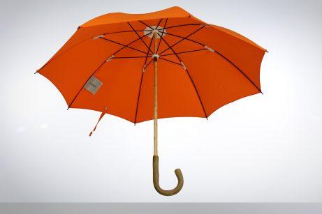 Solid ash wood umbrella with orange cotton canopy